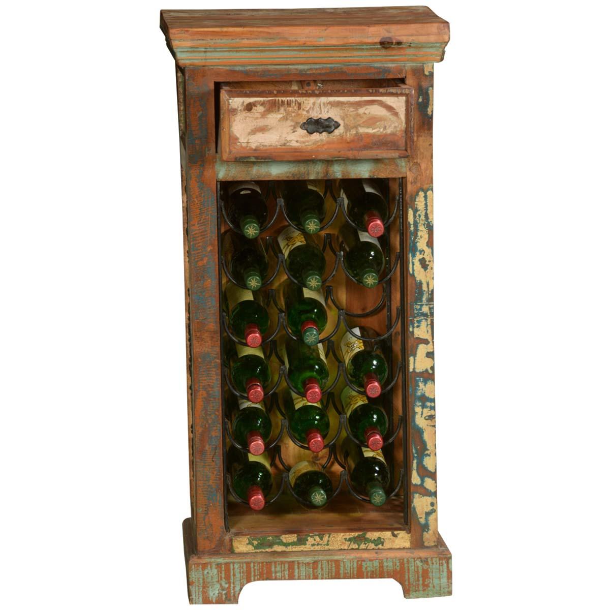 pioneer rustic reclaimed wood iron wine rack end table