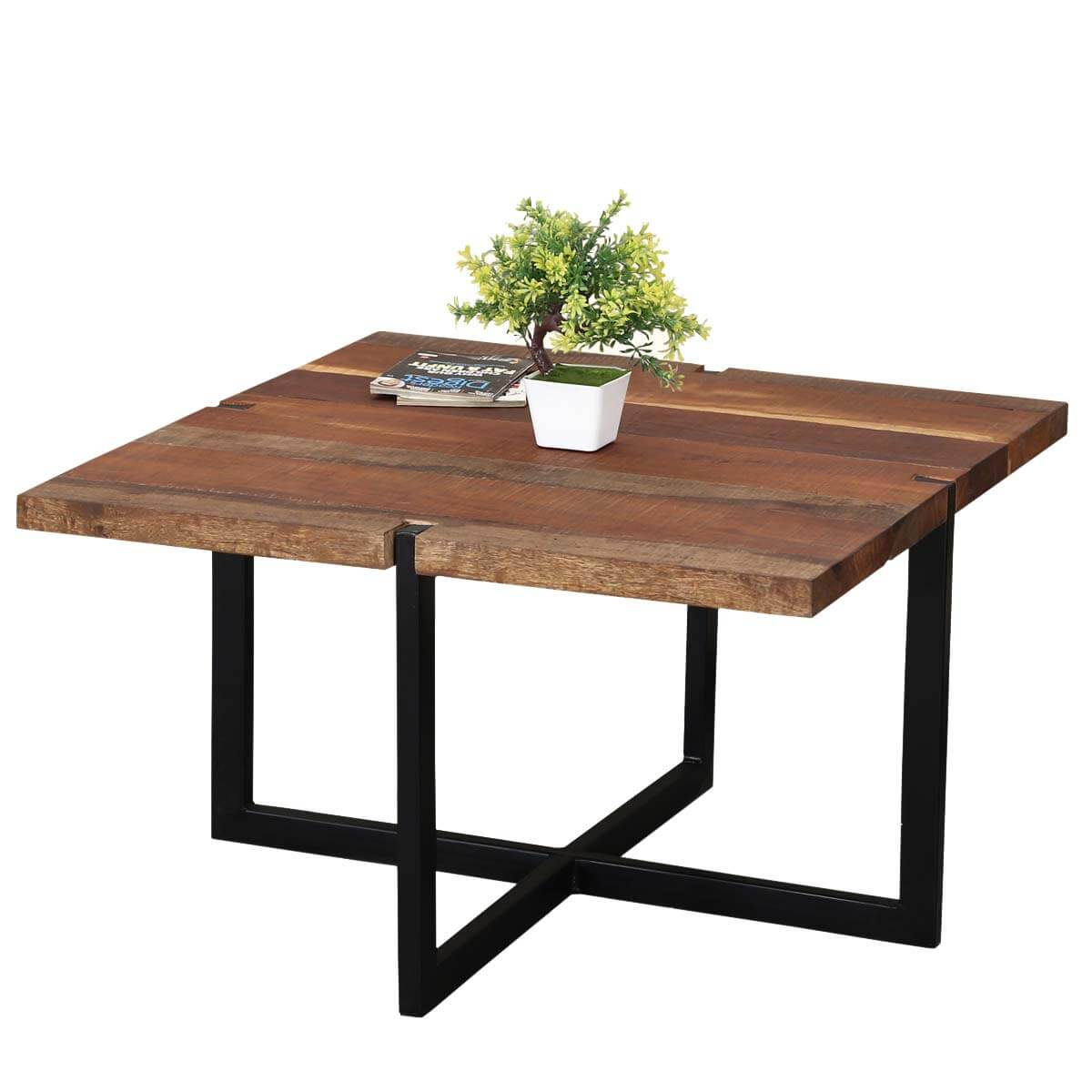 suffolk reclaimed wood iron square coffee table