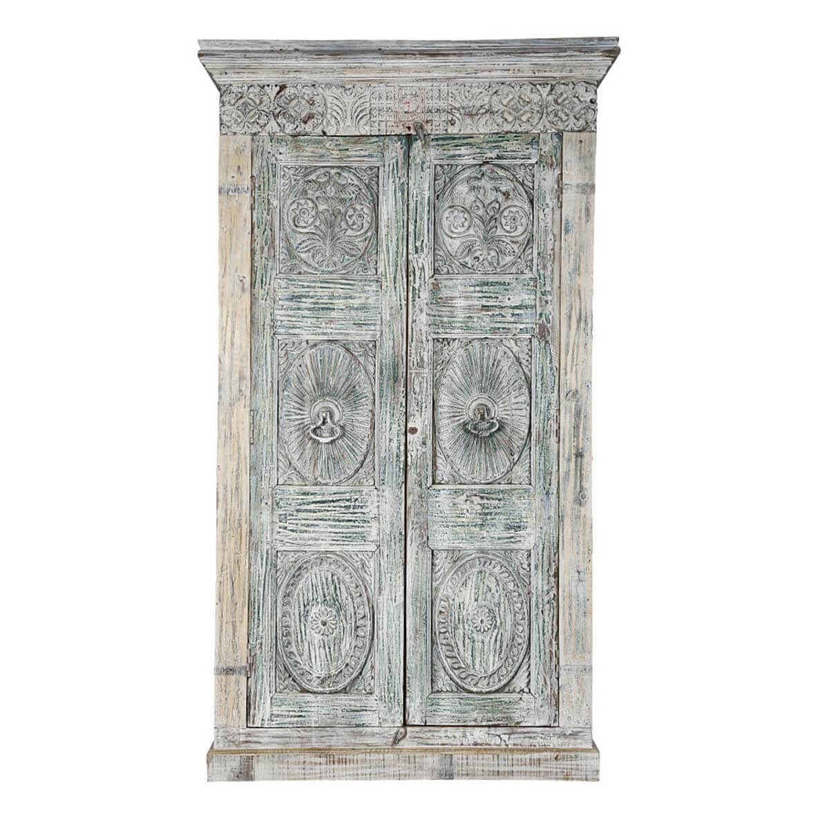 elizabethan handcarved rustic reclaimed wood large grey armoire closet