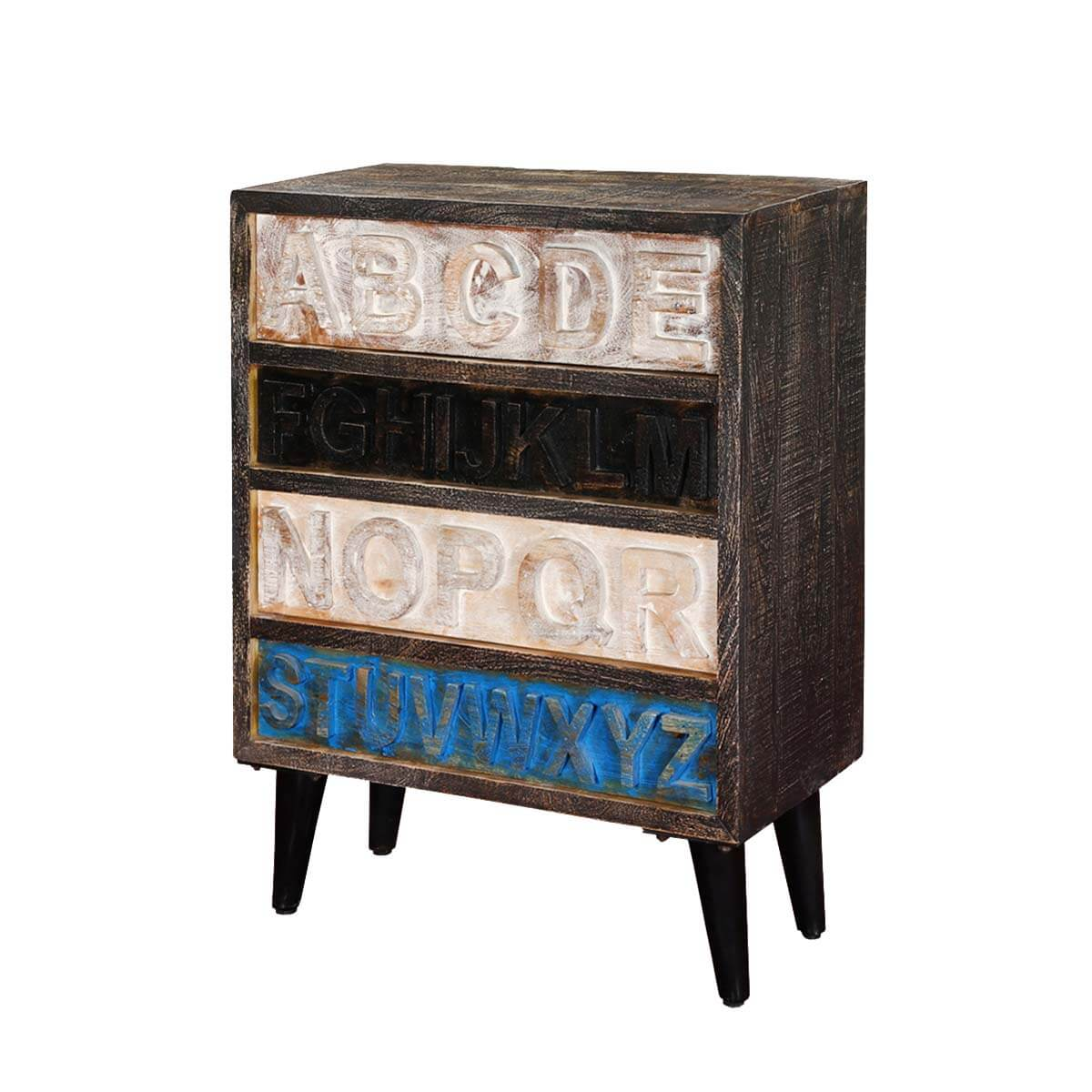 cary alphabet standing 4 drawer rustic accent chest