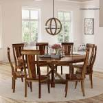 Bedford X Pedestal Rustic Round Dining Table With Chairs Set