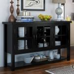 Arcadian Modern Style Solid Wood Glass Door Rustic Buffet Table