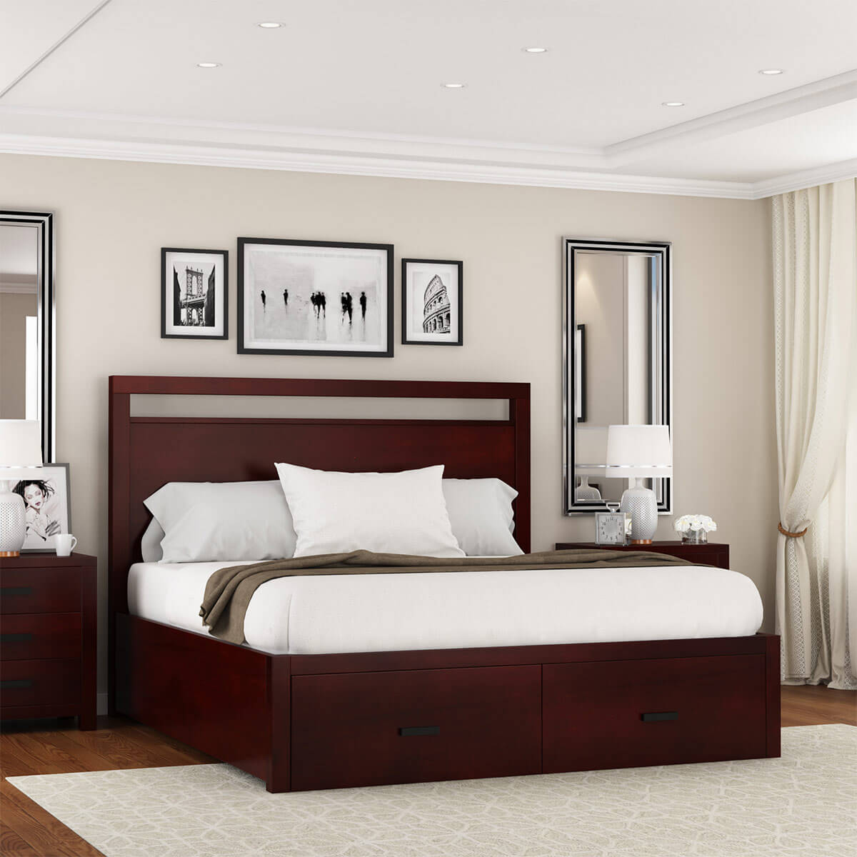 anniston transitional style solid mahogany wood storage platform bed