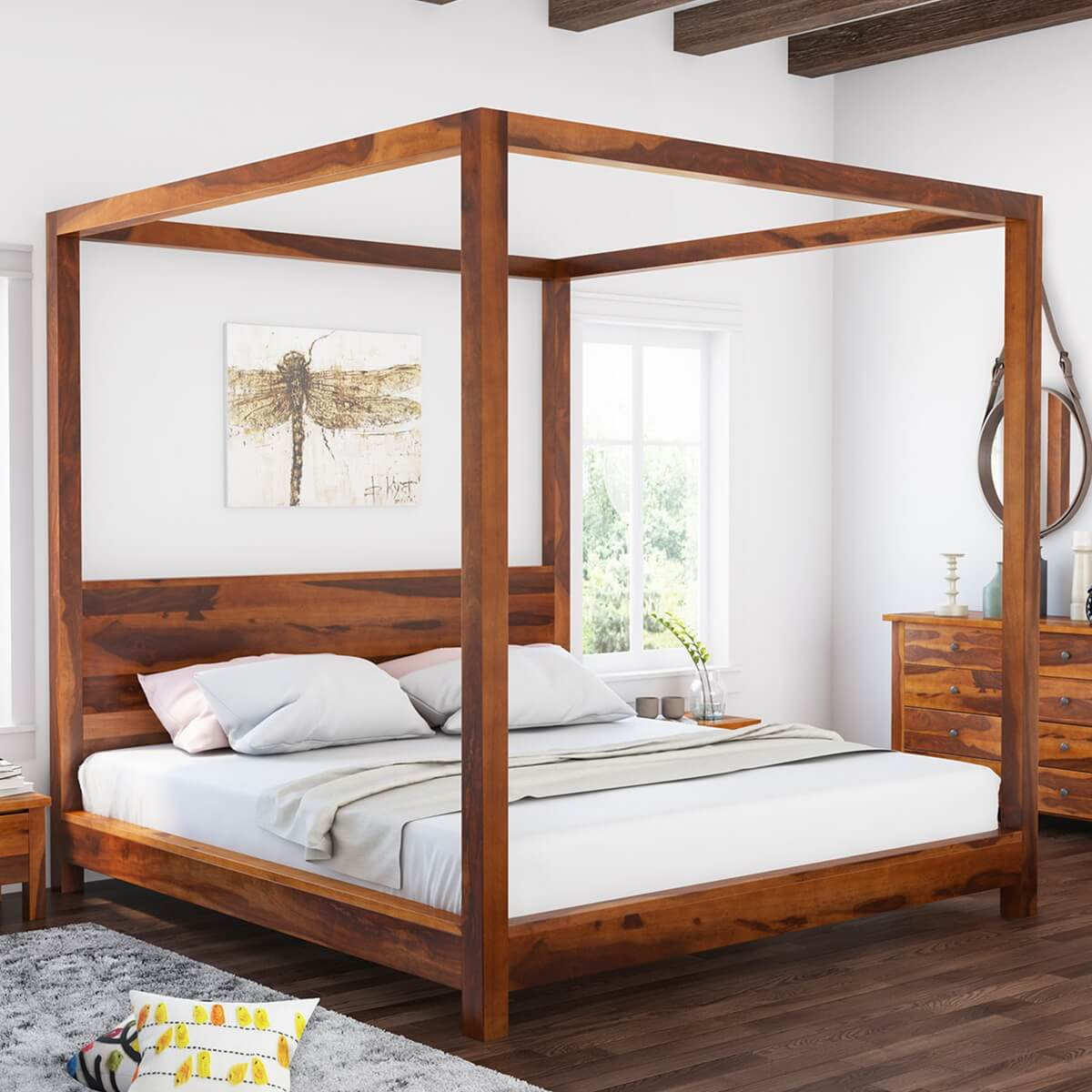 Osteen Contemporary Style Solid Wood Low Height Platform Canopy Bed