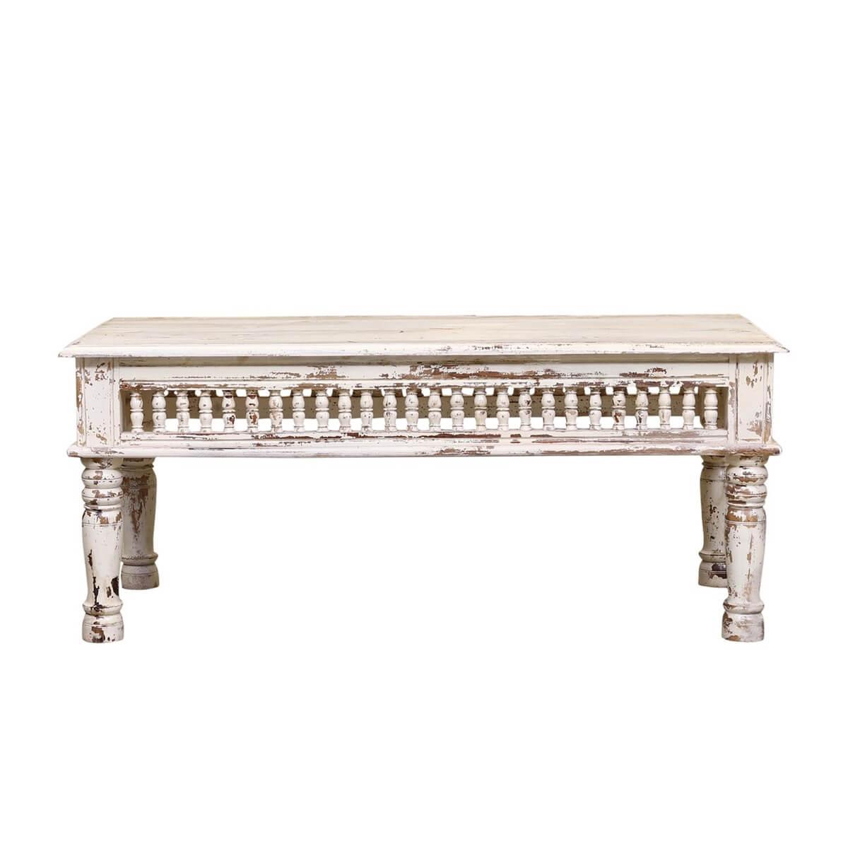 bowlus white distressed reclaimed wood railing rustic coffee table