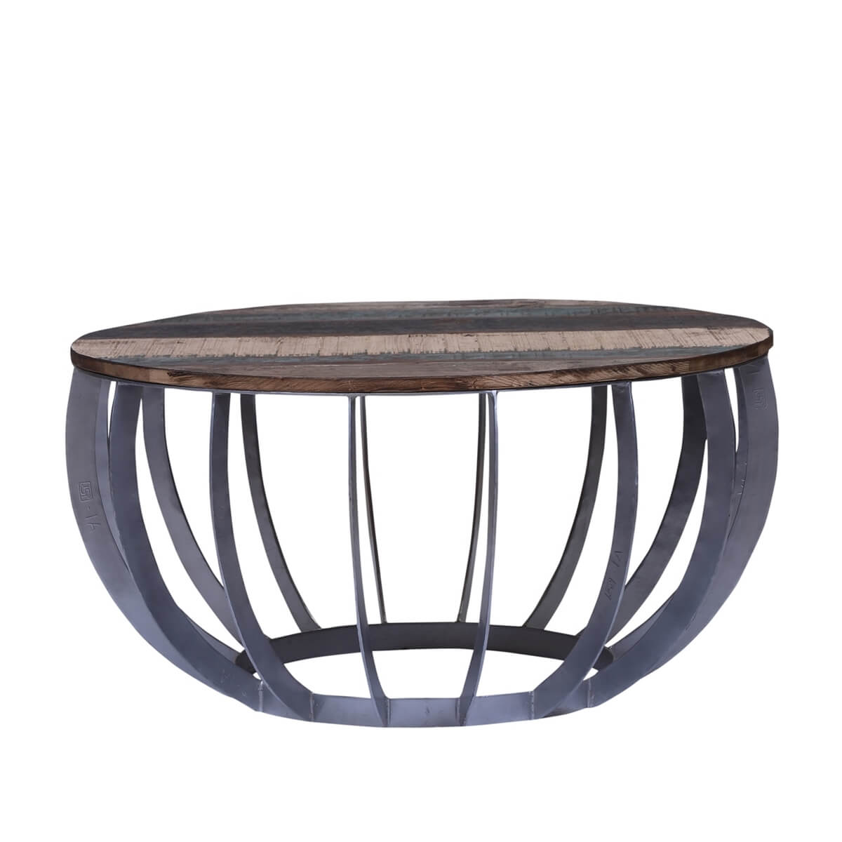 anaheim industrial reclaimed wood round coffee table