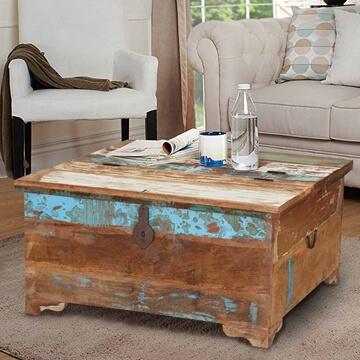 rustic reclaimed wood coffee table storage trunk