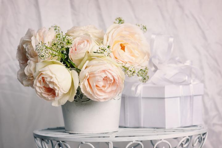 Gift with beautiful roses