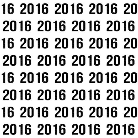The year 2016 written over and over in black bold numbers