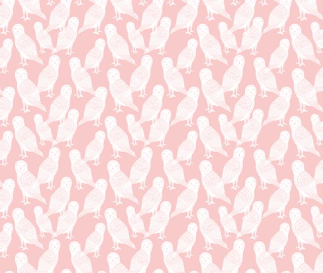 Owls Block Printed Pink Owl Rose Pink Pantone Cute Girly Baby Pastel Pink Nursery