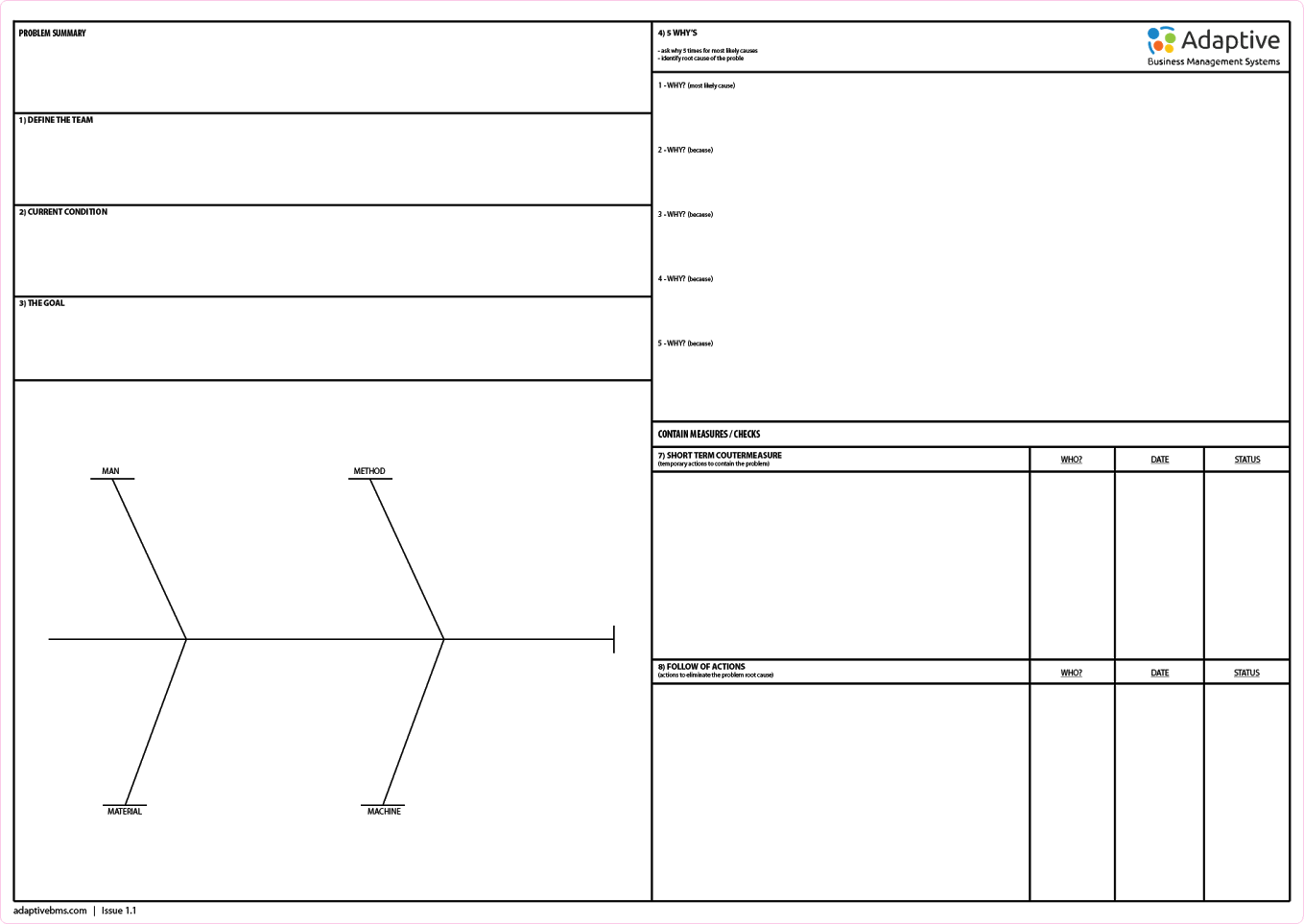 Stick Up Kaizen Problem Solving Work Sheets