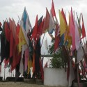 Hindu flags flying at the temple.