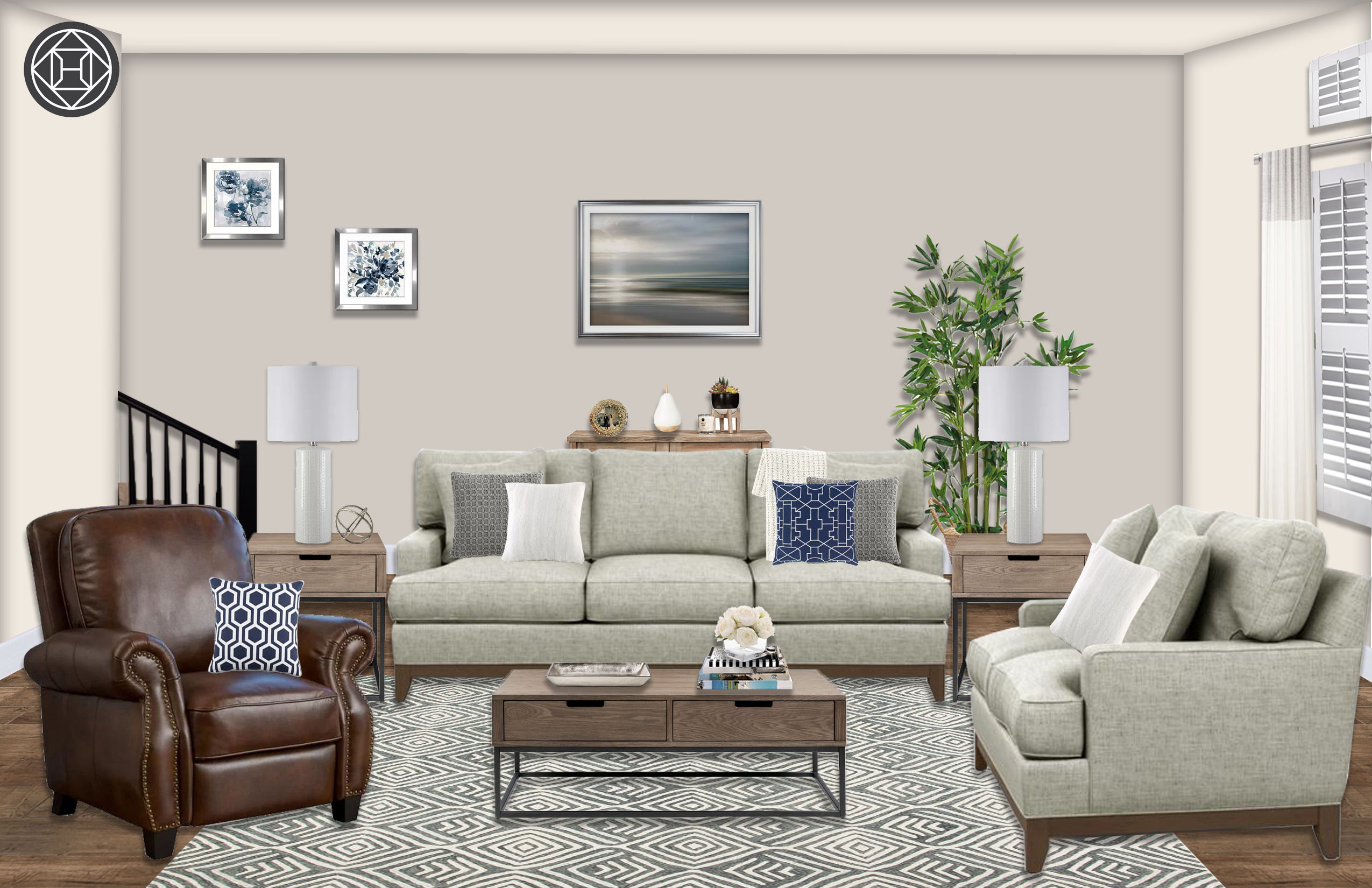 Contemporary Modern Transitional Living Room Design By