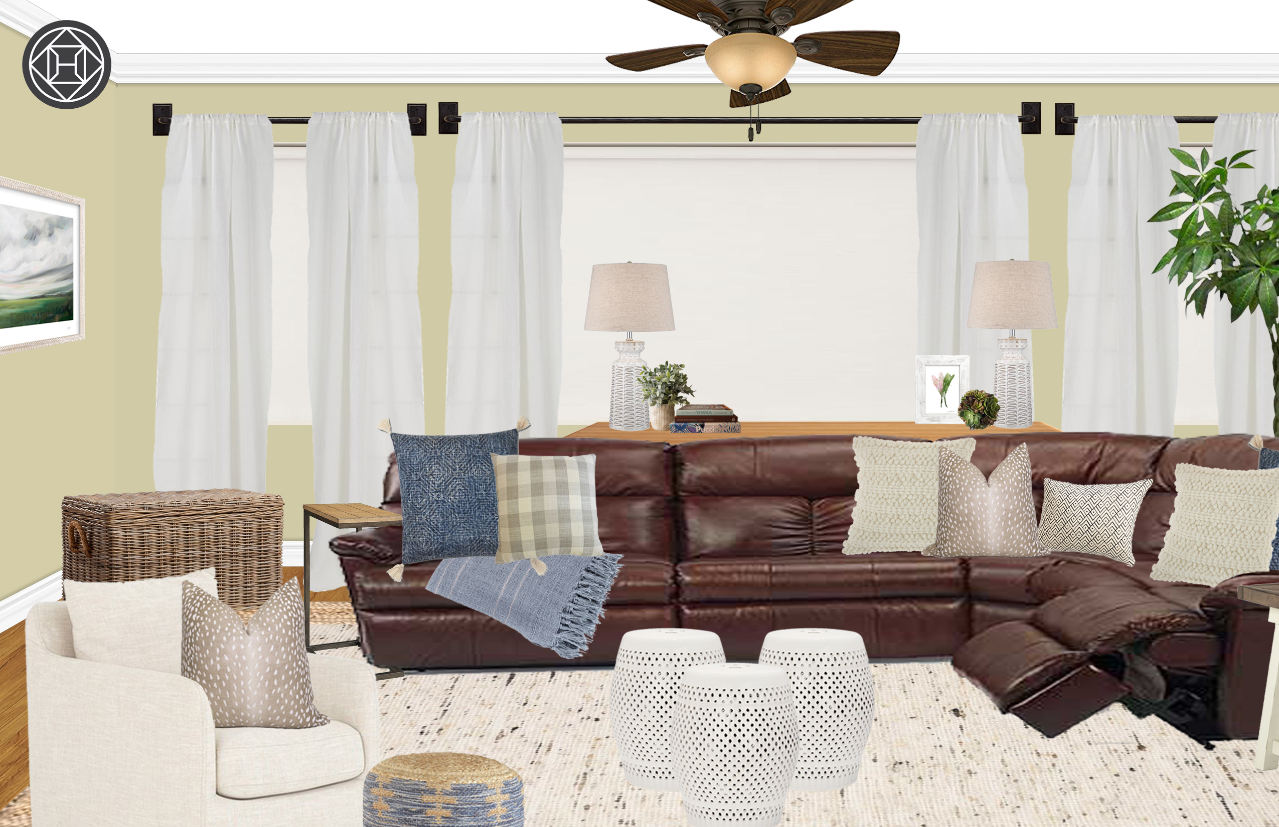 Farmhouse Rustic Transitional Living Room Design By