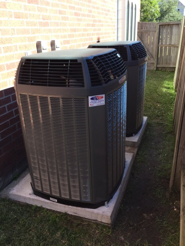 Manvel, TX - Quality control inspection on a pair of new Trane XV20i heating and cooling systems. These HVAC systems will save the homeowners about 62% of operating costs per year.