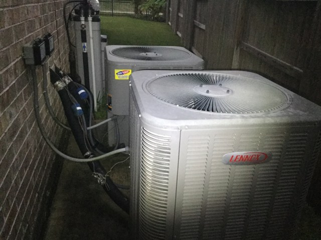 Manvel, TX - I'm at a residence performing a air-conditioning maintenance, checking the thermostat and performing a heating tuneup at my service call.  I'm also checking for any plumbing repair that might be needed.  I'm doing my best to give my customer a proper AC tuneup.