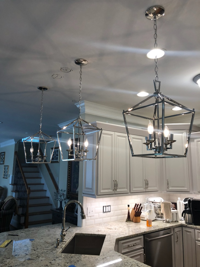 Wake Forest, NC - Installed new pendent lights and added a generator inlet box