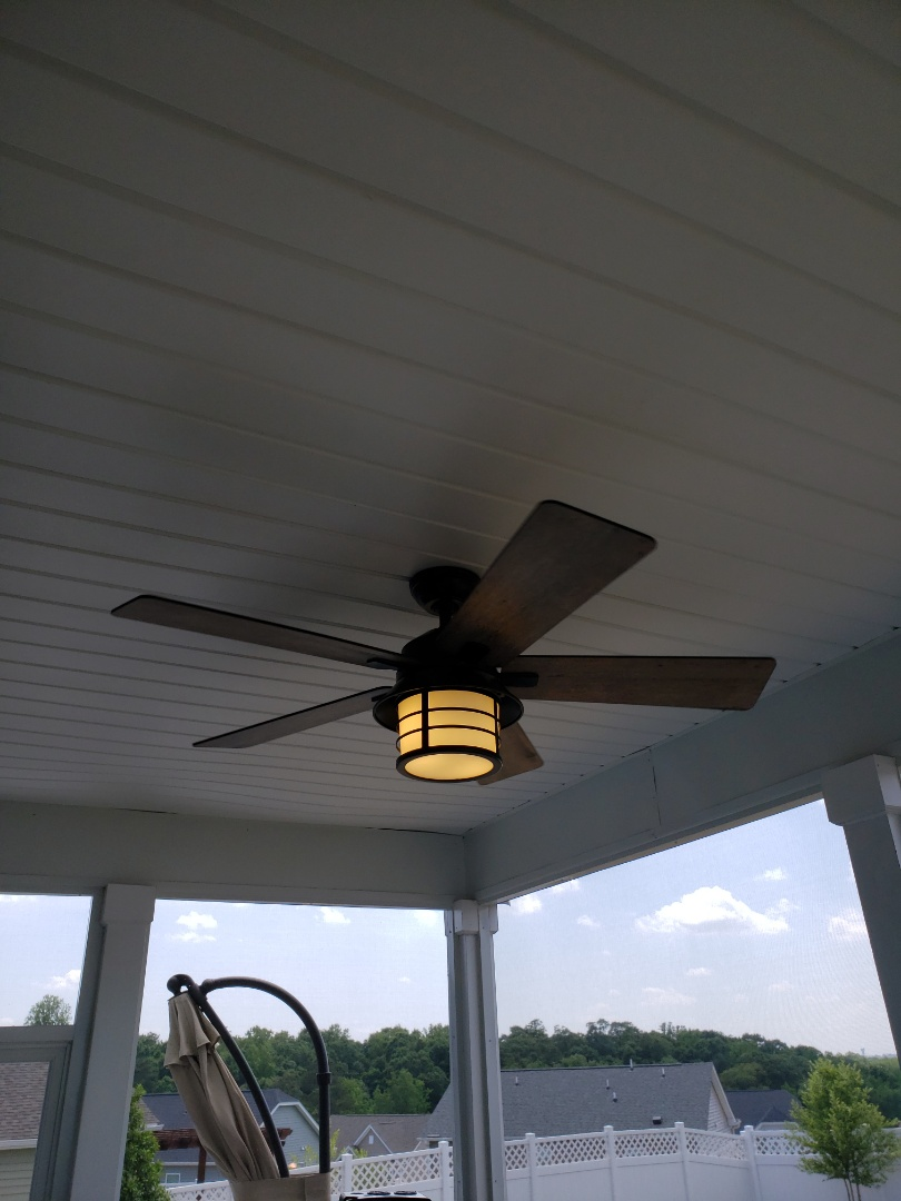 Knightdale, NC - Install ceiling fan on screen porch