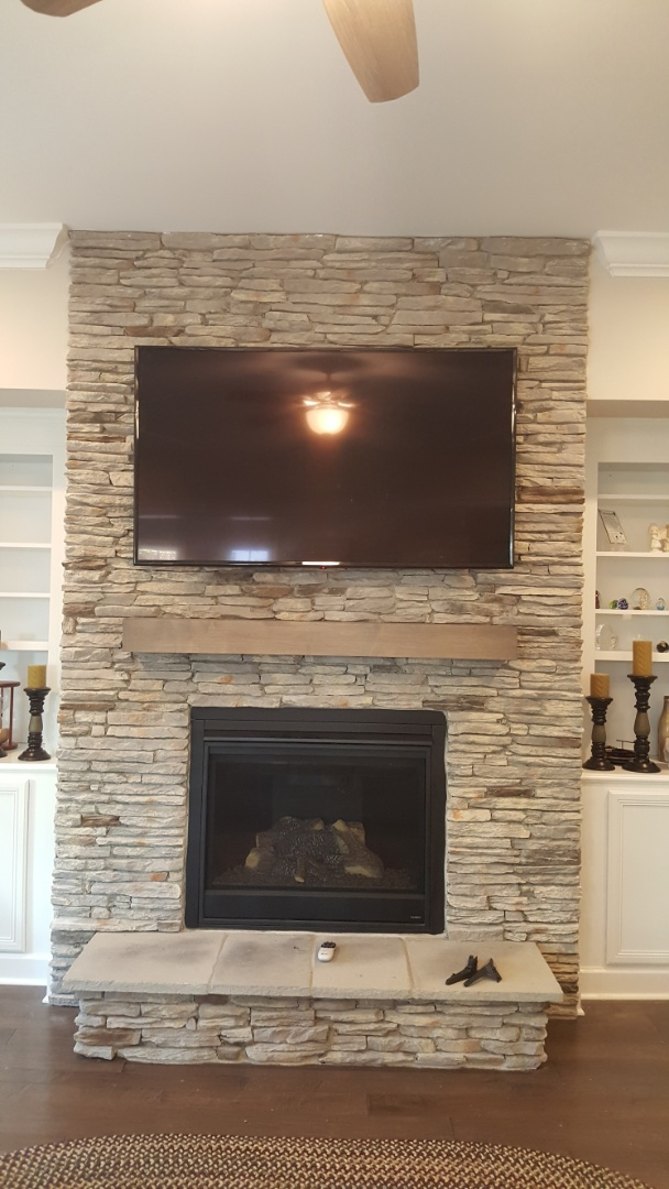 Raleigh, NC - Install tv above fireplace
