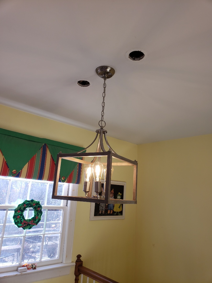 Raleigh, NC - Take down 3 pendent lights and install a new chandelier