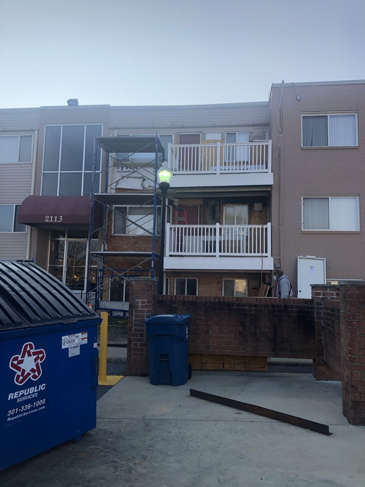 Forest Heights, MD - Installing siding after replacing the rotten wood on the exterior wall