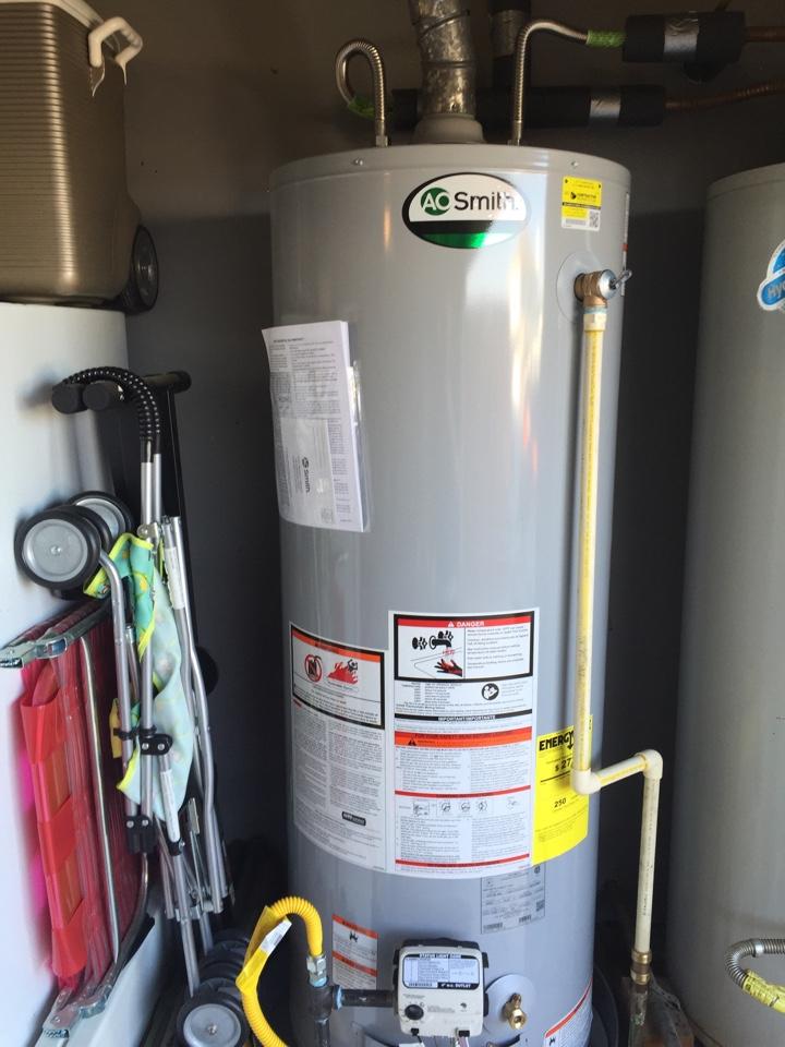 Murphy, TX - Install new 50 gallon gas water heater in garage