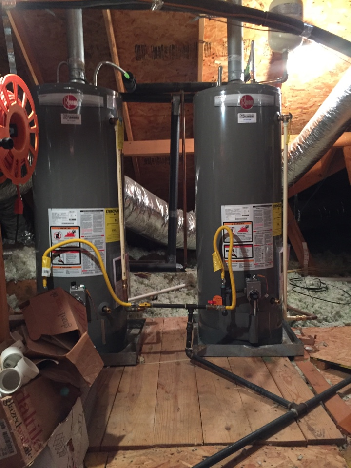 Fairview, TX - Install two new 50 gallon gas water heater's and upstairs attic