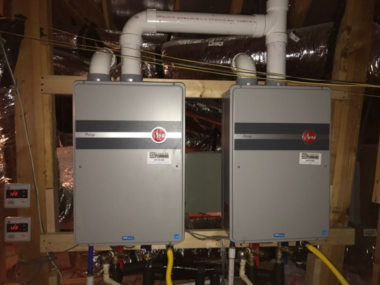 Allen, TX - Had a client in The Star Creek subdivision of Allen Texas that was having water heater issues. Originally there were 2 50 Gallon Bradford White's that were leaking and not keeping up with the house. We were able to install these Rheem Tankless water heaters in place. Now they'll have endless hot water and will be more efficient! Loved installing these Tankless water heaters for this great family! Plumbers in Allen Texas