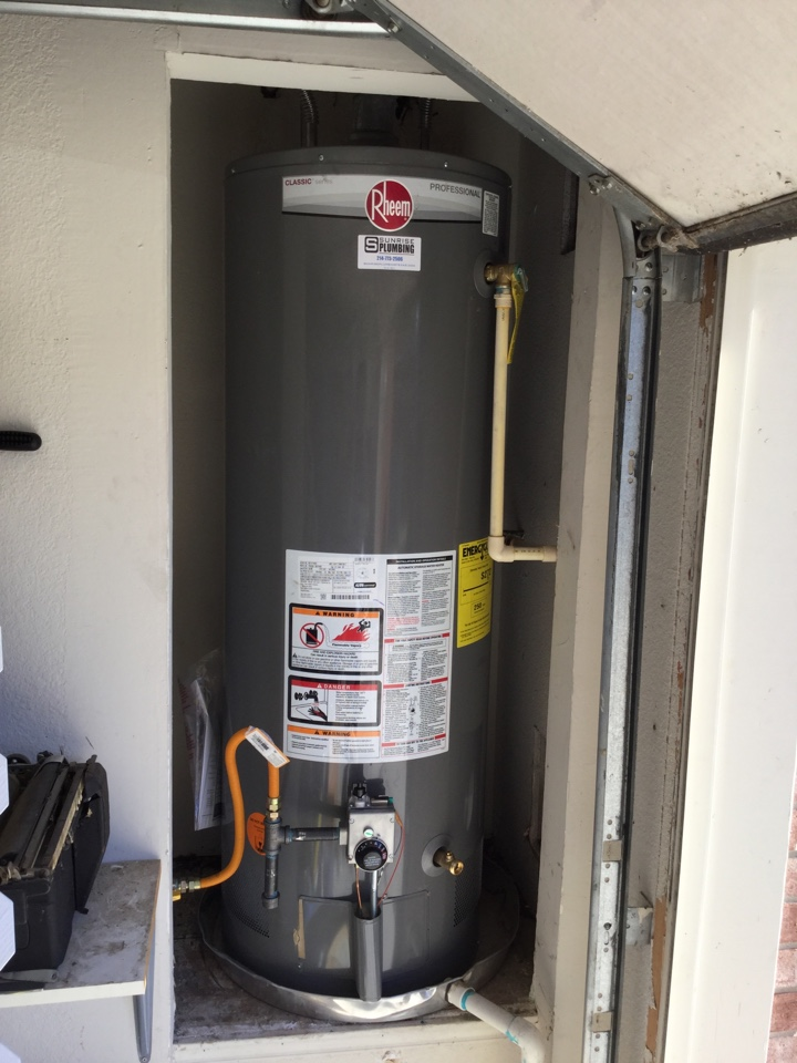 Murphy, TX - 50 gallon gas water heater in garage is not producing hot water. Install new 50 gallon gas water heater