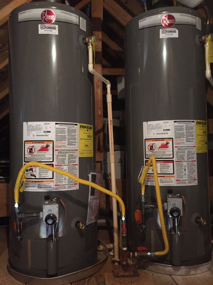 Fairview, TX - 50 gallon gas water heaters in attic are 10 years old and need to be replaced. Install 2 new Rheem 50 gallon gas water heaters
