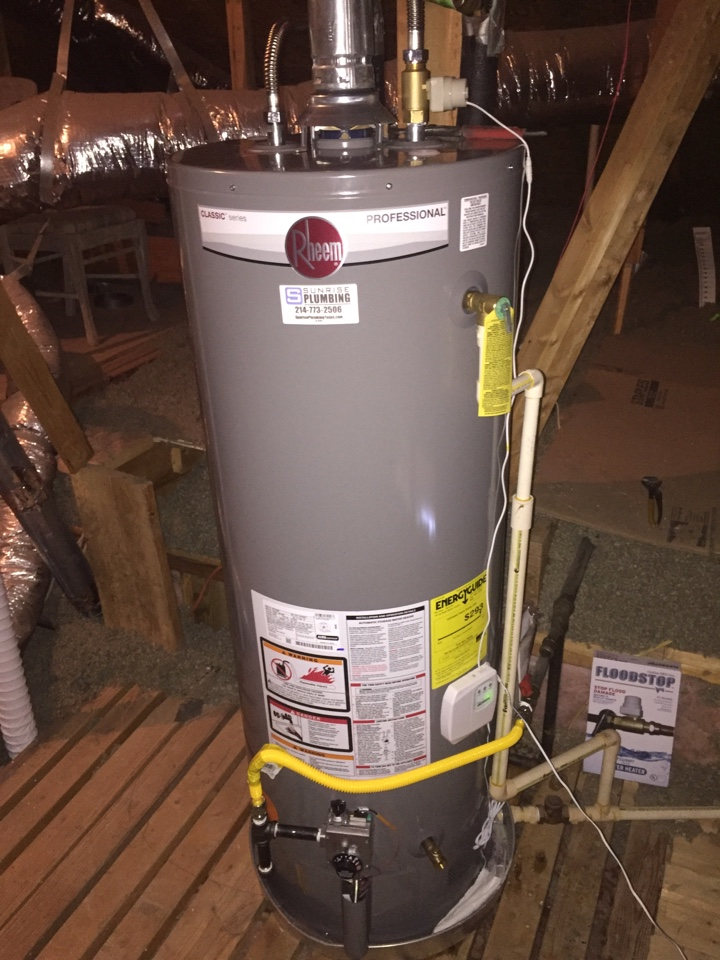 Sachse, TX - 50 gallon gas water heater in attic is leaking needs repair. Install new 50 gallon gas with. Flood stop. Allan plumbers