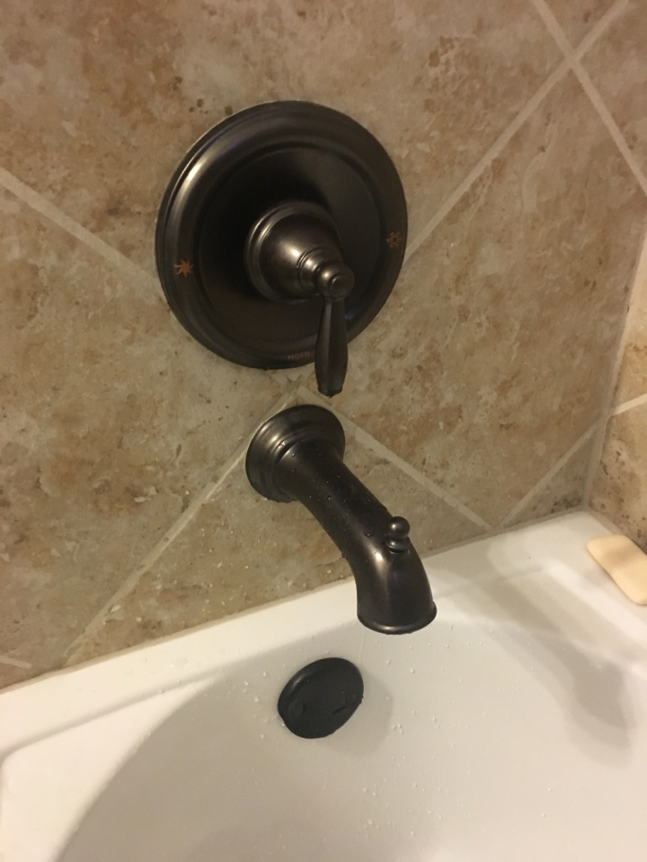 Heath, TX - How water at shower valve will not shut off. Moen tub shower valve needs repair. Install new Moen posi temp cartridge at tub shower. Found hot water was set too high at water heater. Turned water heater at 120 degrees.