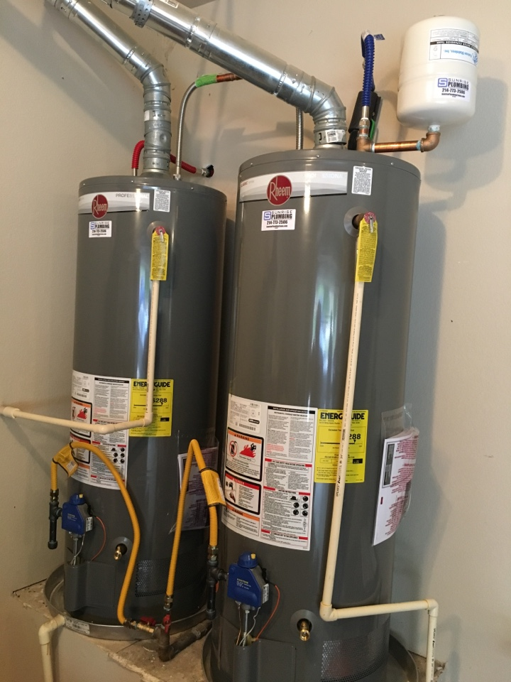 Rockwall, TX - State water heaters in garage will not stay lit, need repair. After diagnosis, water heaters are over heating due to poor ventilation at bottom of tanks, need to replace. Units are 12 years old. Install 2 new Rheem water heaters