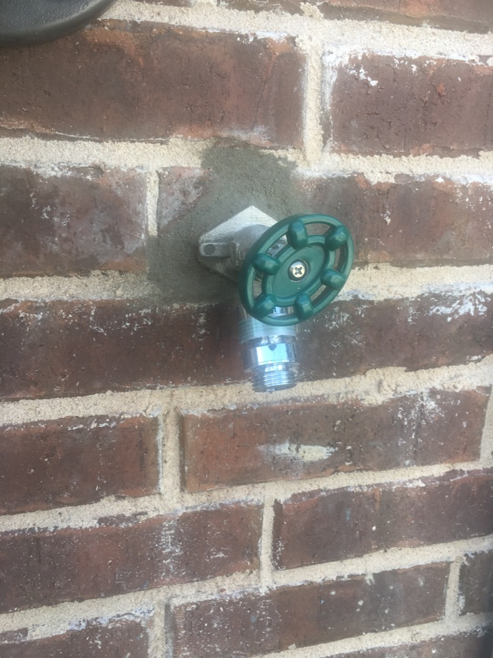 Rockwall, TX - Outside faucet leaking in wall. Outside faucet froze and broke. Install new outside faucet.