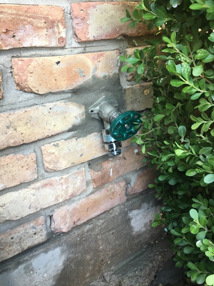 Rockwall, TX - Outside faucet handle broken off, needs repair. Handle can not be repaired, faucet is 30 years old. Install new outside frostproof faucet, includes mortar repair.