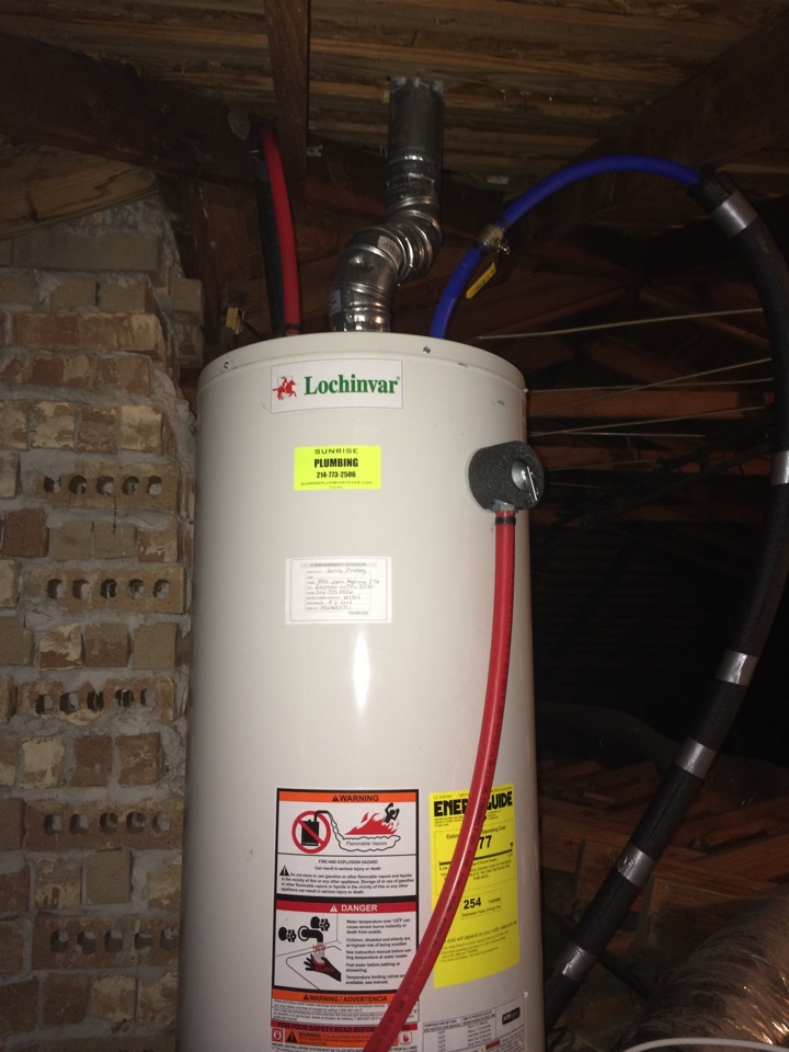 Murphy, TX - Install new, 50 gallon, natural gas, water heater in attic.