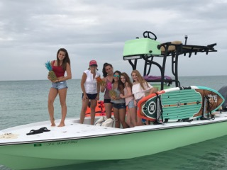 Miami, FL - Girls day out on the boat and heading to the sandbar.