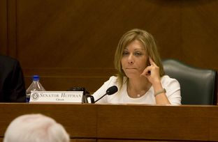 Sen. Joan Huffman R-Houston during the Senate Committee on State Affairs as they listen to testimony relating to guns on campus and open carry on February 12th, 2015