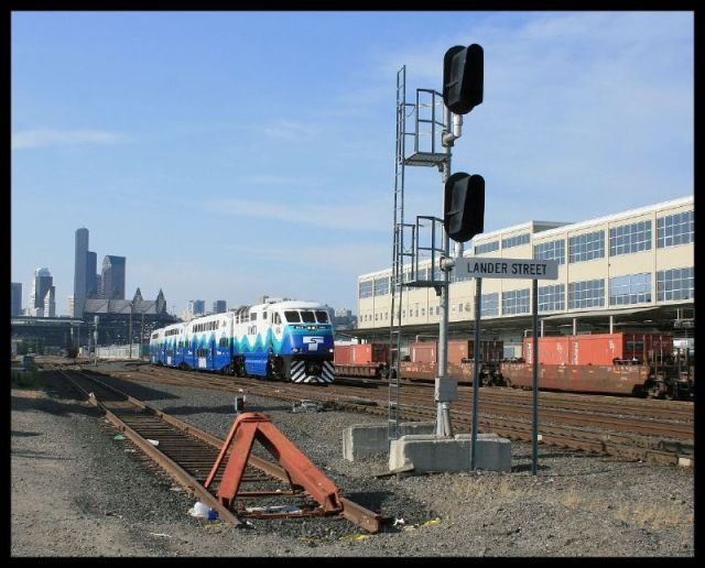 View of Sounder train from existing Lander St crossing