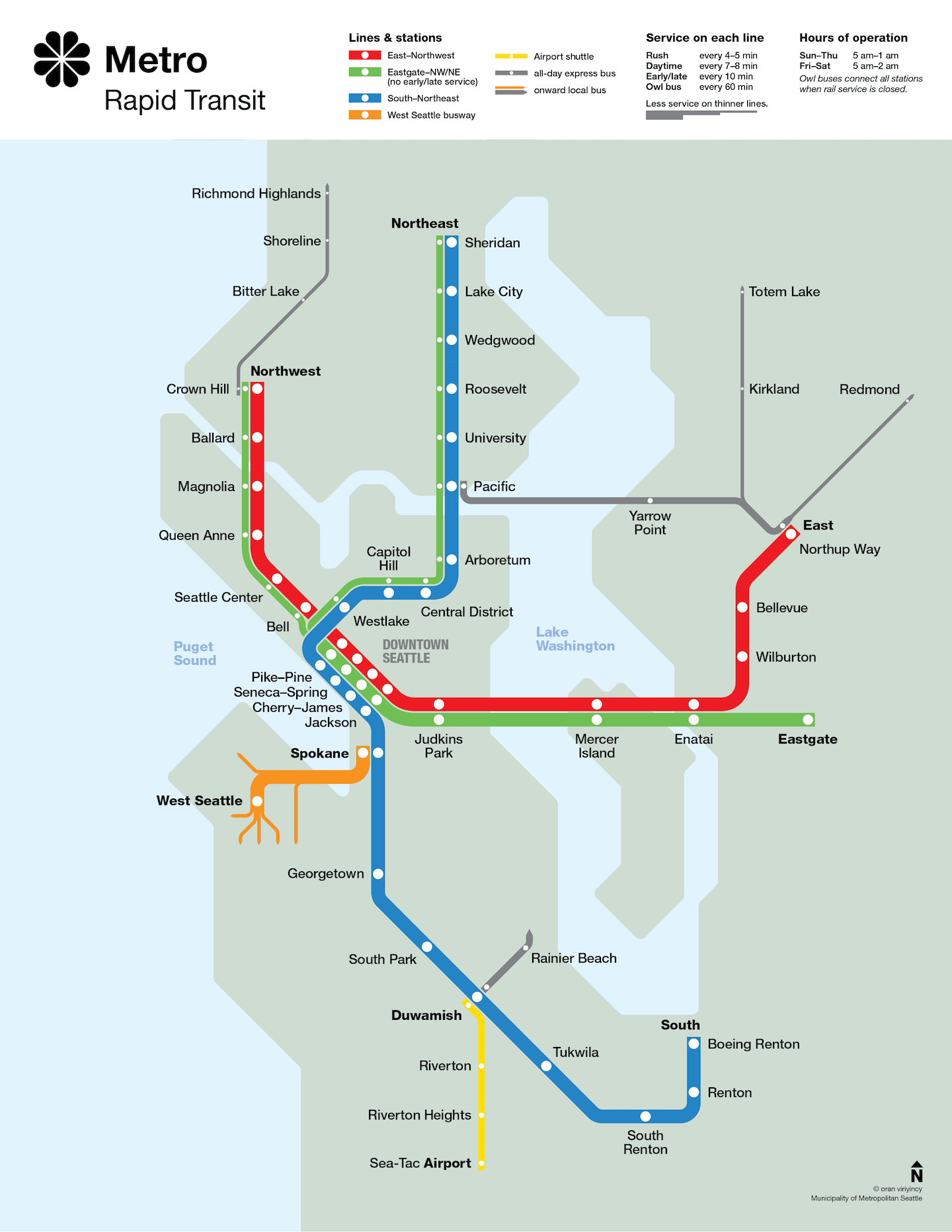 Seattle Metro Rapid Transit Map circa 1990
