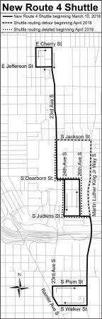 Route 4 Construction Shuttle Map