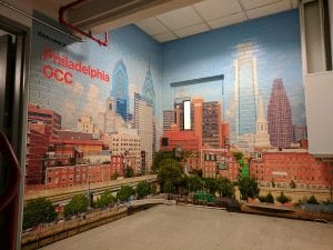 Philadelphia Skyline Mural installed on Brick
