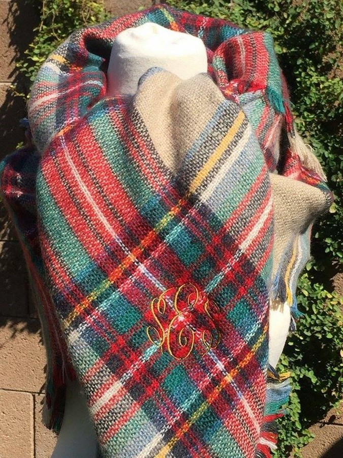 Red Beige Amp Green Personalized Blanket Scarf BelleChic
