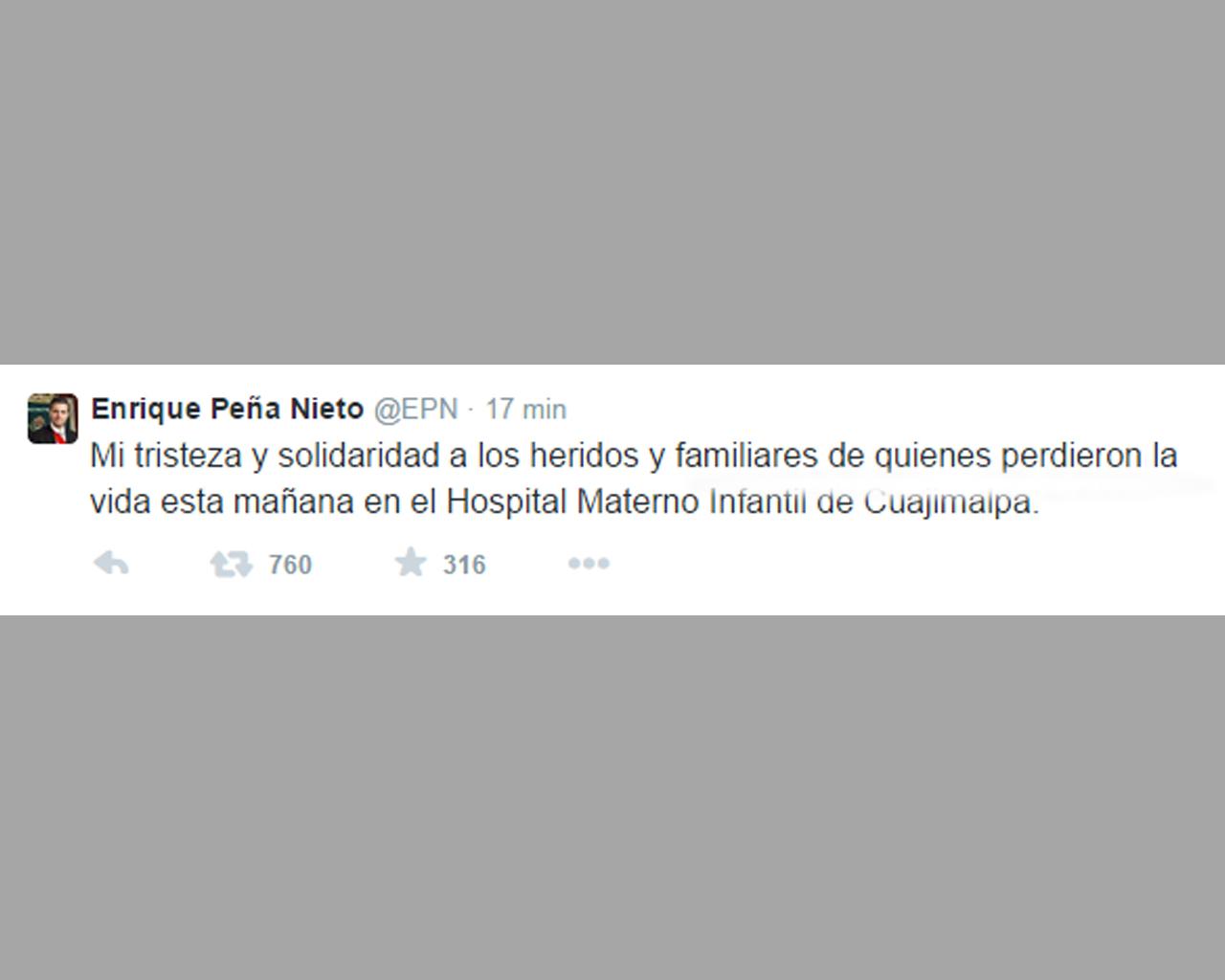 EPN se solidariza con las víctimas del Hospital Materno Infantil de Cuajimalpa