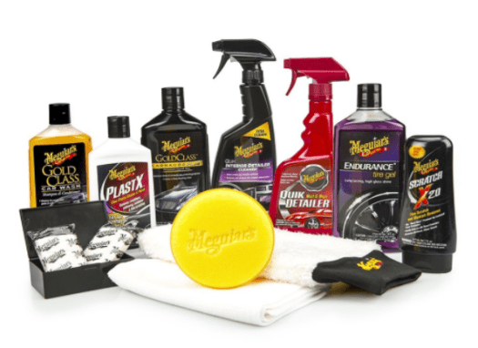 The Meguiar's car care kit has plenty of essential cleaners and polishes and the tools needed to apply them.