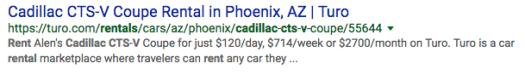 A Cadillac CTS-V rental on Turo