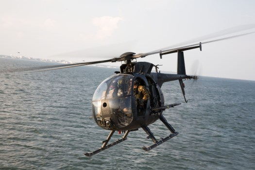 An MH-6 Little Bird of the U.S. Army's 160th Special Operations Aviation Regiment, similar to the civilian Hughes 500s that Seaspray reportedly flew.