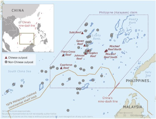 A map of Chinese and foreign outposts in the South China Sea.