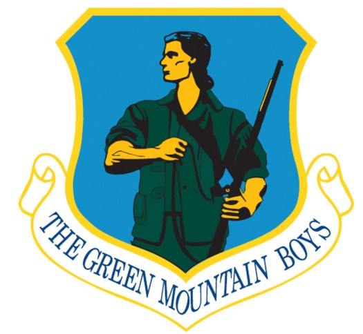 The official insignia of the 158th Fighter Wing, Vermont Air National Guard makes its historical association clear.