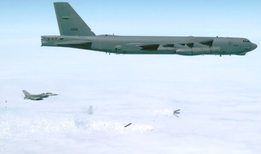 A B-52H from the 419th Flight Test Squadron drops a PDU-5/B during tests.